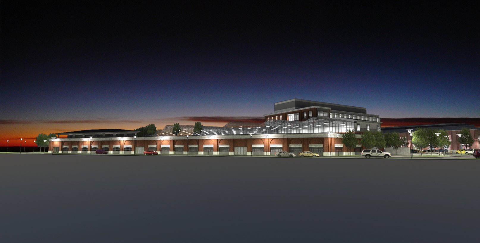 Illustration of life sciences collaboration facility, including repurposed Industrial Arts Building
