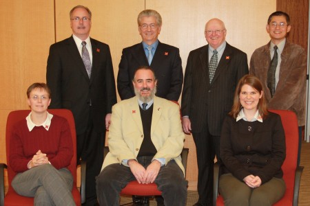 Research team, standing, from left, Phil Ruhlman, Gallup; Allan McCutcheon, UNL; Gale Muller, Gallup; and Leen-Kiat Soh, UNL. Seated, from left, Jolene Smyth, Robert Belli and Kristen Olson, all UNL.