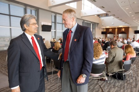 Prem S. Paul, vice chancellor for research and economic development (left), and Tom Osborne