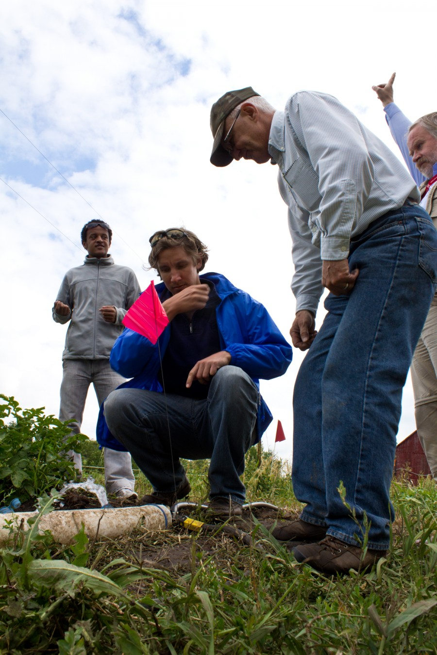 UNL irrigation engineer Dean Eisenhauer and UNESCo-IHE students in the field