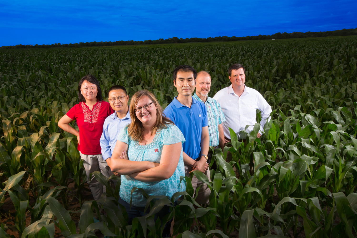 UNL climate change and groundwater quality team, from left: Yusong Li, civil engineering; Zhenghong Tang, community and regional planning; Shannon Bartelt-Hunt and Xu Li, civil engineering; Dan Snow, Nebraska Water Center; and Eric Thompson, economics. Not pictured, David Rosenbaum, economics.