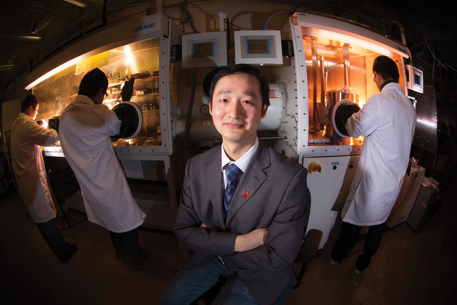 Jinsong Huang and colleagues in his lab