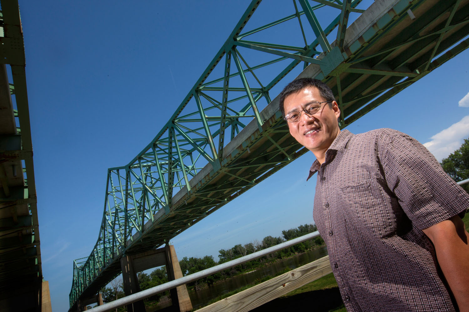 Zhigang Shen, Construction Management Associate Professor, who uses 3D rendering of bridges to help inspectors better determine problem area to keep the bridges safe. June 10, 2015. Photo by Craig Chandler/University Communications