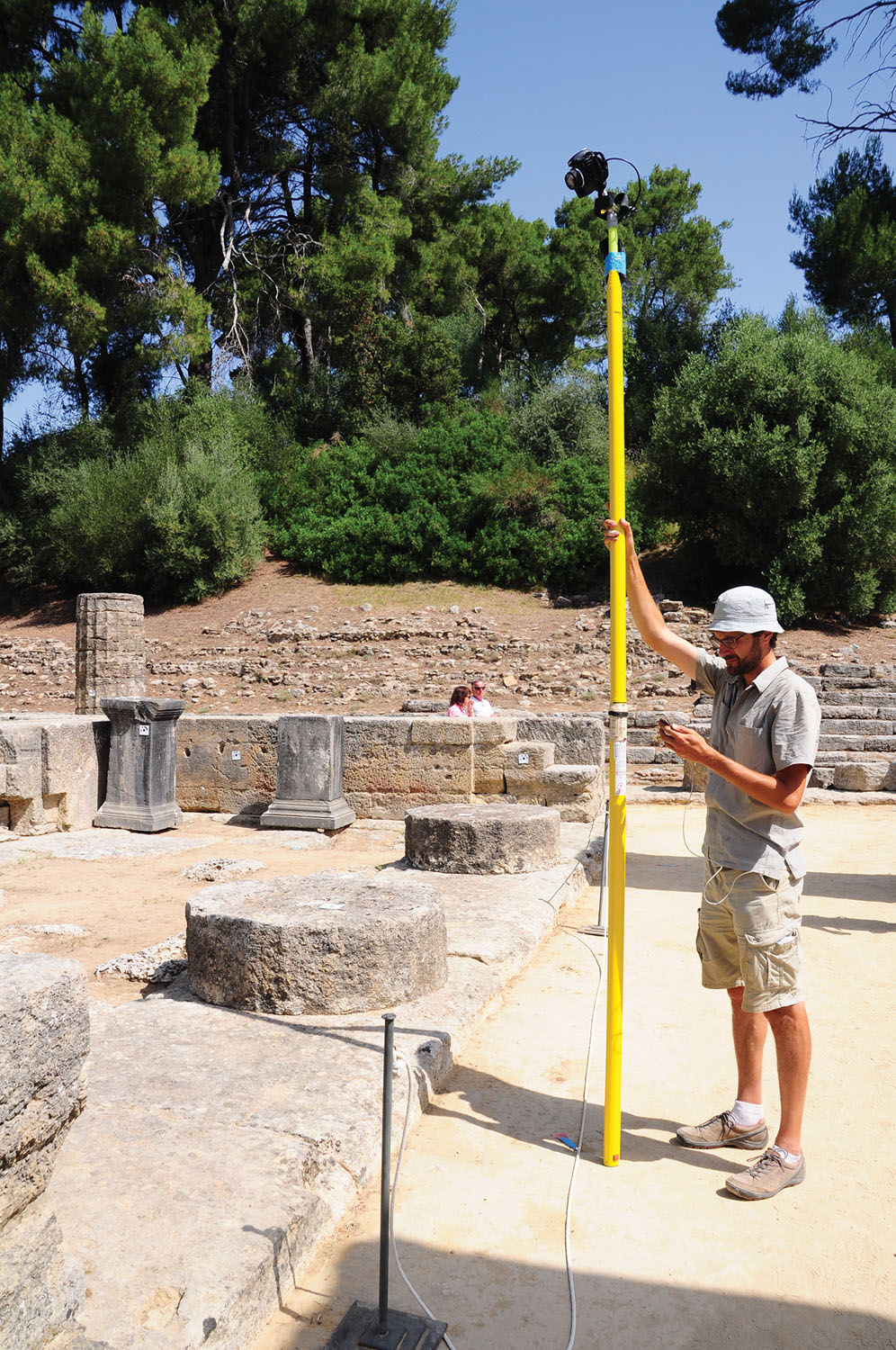 Philip Sapirstein photographing Hera Temple in Olympia, Greece.