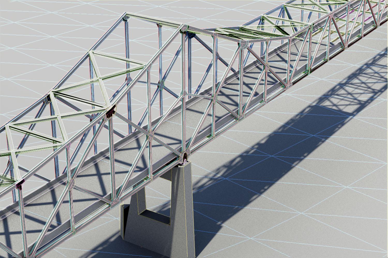 3-D rendering of the Mormon Bridge in Omaha, Nebraska