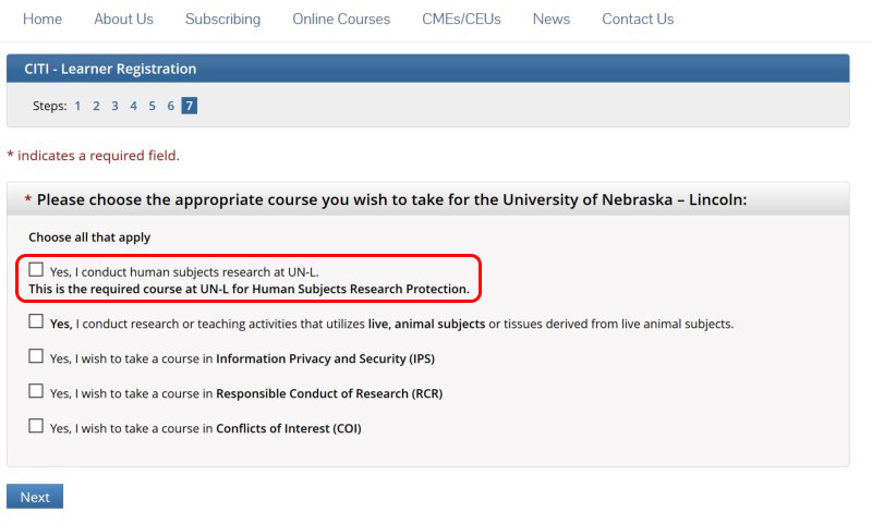 Unl Required Human Subjects Training Citi Research Compliance