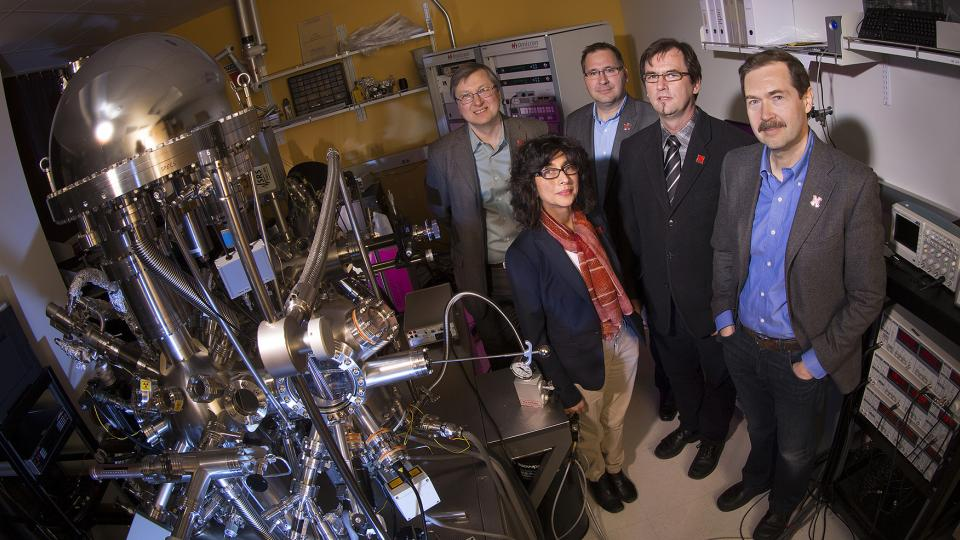 Evgeny Tsymbal, (back row, far left) director of UNL's Materials Research Science and Engineering Center, with colleagues (from left) Shireen Adenwalla, seed projects leader; Axel Enders, associate director/education director; and research group leaders Christian Binek and Alexei Gruverman. All are UNL physicists.